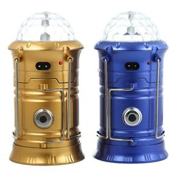 Wholesale Battery Led Stage Lighting - Bright Collapsible 3-in-1 LED Lantern Lights + Flashlight Torch +RGB Magic Effect Ball Stage Light Lamp Bulb Rechargeable Battery Camping