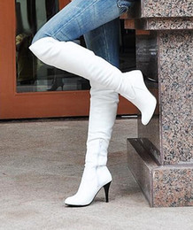 Wholesale Brown Stiletto Boots - Big size 34-43 fashion high heels knee boots women shoes patent leather brand designer sexy boots