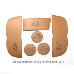 Wholesale Smart Car Fortwo - car leather cup mats for mercedes-benz SMART Fortwo 2015-2017 interior accessories