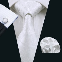 Wholesale Fancy Patterns - Stylish White Ties Set Fancy Pattern Pocket Square Cufflinks Jacquard Woven Business Formal Work Meeting Neck Tie Set N-0393