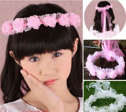 Wholesale Flower Wreath Tiara Wholesale - Fashion girl headband children lace yarn ribbon wreath Tiaras flower pearl beaded party wedding Hair Jewelry