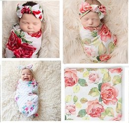 Wholesale Thin Baby Headbands - Newborn Baby Flower Wrap Swaddle+Headband Set Thin Cotton Quilt for Infant Euro America INS Baby Girls Floral Swaddling