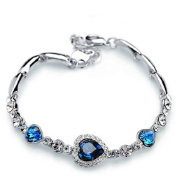 Wholesale Ocean Heart Sets - Fashion heart of the ocean bracelet love heart-shaped peach heart bracelet Women Vintage Charm Bracelet women's jewelry