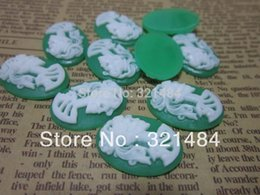 Wholesale Skull Cameo Cabochon - Vintage 18x25mm resin flat back beads skull cameo oval cabochon for pendnat bezel blank jewelry making FSC002