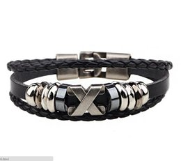 Wholesale Tribal Black - Retro Vintage Leather Charm Bracelet Tribal Wrap Wristband For Men Women Rope Braided Black Brown Adjustable X Bracelets
