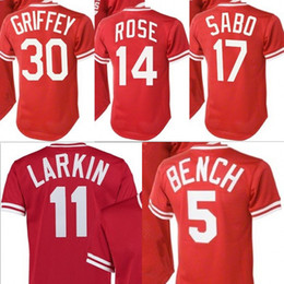 Wholesale Baseball Benches - Men's Youth Mitchell and Ness 5 Johnny Bench 30 Ken Griffey 17 Chris Sabo 11 Barry Larkin 14 Pete Rose Red Throwback Cincinnati