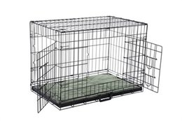Wholesale Dog Kennel Puppy - Confidence Pet Folding Dog Crate Kennels 2 Door Puppy Cage With Bed