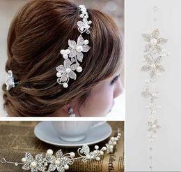 Wholesale Crown Hair Barrette - 2017 Fashion Crystal Pearl Flower Party Wedding Hair Accessories Bridal Headband Tiara Headwear Silver Pearls Bridal Crown Headbands