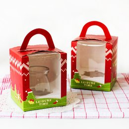 Wholesale Plastic Muffin Boxes - Free Shipping 200pcs lot cupcake Candy Cheese Mousse Cake Box with Tow Muffin Box with handle PVC window box Christmas