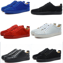 Wholesale Spiked Red Bottoms For Men - Low Cut Suede Spiked Toe Casual Flats Red Bottom Luxury louboutin Shoes 2017 New For Men and Women Party Designer Sneakers Famous Brand