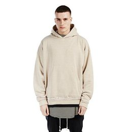 Wholesale Kpop Pullover - streetwear khaki BEIGE kanye west men hoodies pullover oversized hood hoodie kpop clothes mens urban represent clothing