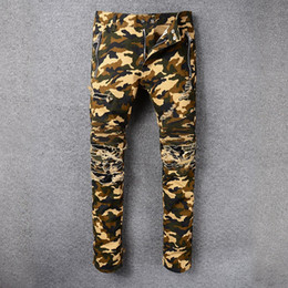 Wholesale Classic Trousers For Men - 2018 Men's camouflage hole biker jeans for Casual Denim Jeans Slim Fit Motorcycle Biker Denim For Jeans pleated denim pants Long trousers