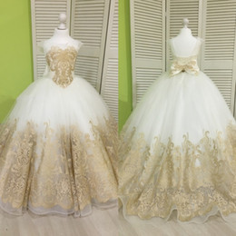 Wholesale Free Kids Pageant Dresses - Princess Little Flower Girl Dresses Cap Sleeves Gold Applique Kids Formal Wear Lace Up Free Shipping Girls Pageant Dresses