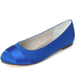 Wholesale low heeled ivory wedding shoes - 9872-17 Simple Style Royal Blue Wedding Shoes Flats Custom Made Stain Bridesmaid Shoes Evening Party Shoes 2015 Newest