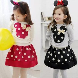 Wholesale Girls Black Skirt Sets - 2017 Minnies mouse clothing girls spring sets 2pcs baby girl's dresses long sleeve dots T-shirt+short skirts For Children outfits girls suit