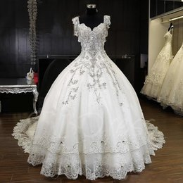 Wholesale Snow White Wedding - 2018 winter fall snow garden Ball gown cap shoulder wedding dresses crystals western bridal wedding gowns