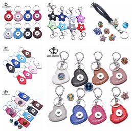 Wholesale Wholesale Leather Keychains - Hot Fashion 18mm Snap Button Leather Keychain Round Square Heart Keychains Keyrings DIY Jewelry Snaps Car Bags Key chain Noosa Key rings