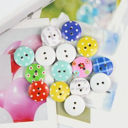 Wholesale Scrapbooking Dots - 100Pcs 15.0mm Mixed Dotted Pattern Wooden Sewing Buttons and Scrapbooking Decor order<$18 no tracking