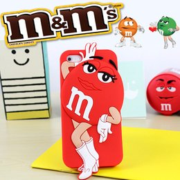 Wholesale Iphone Back 4s Style - For iphone 4S 5S 6 6Plus Soft Silicone Phone Cases 3D Cartoon M&M Chocolate Bean Style Back Cover Mobile Phone bags cases