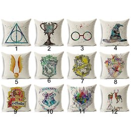 Wholesale Pillow Cover Cotton - Harry Potter Cushion Cover Cotton Linen Goblet of Fire The Deathly Hallows Home Decorative Pillow Cover for Sofa Cojines