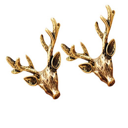 Wholesale Earrings Antique - Fashion vintage antique golden copper stud earrings Antlers deer head ear hammer free shipping