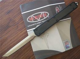 Wholesale Super Defense - Microtech Makora II Dual action Tactical Knife Satin Plain Tanto Point Aluminum Carbon Fiber handle 106 Pocket knives with box Super light