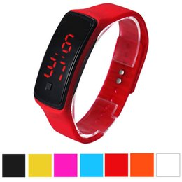 Wholesale Watches Led Kids - Fashion Men Candy Silicone Strap Touch Square Dial Digital Bracelet LED Sport Wrist Watch Women Kids Watches relojes