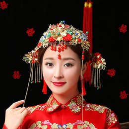 Wholesale Gold Pearls Bride Accessories Sets - Wedding Bridal Hair Accessories Bride Costume of Ancient Classical Chinese Tradinional Headwear Gold Plated Hair 4 Sets Accessories