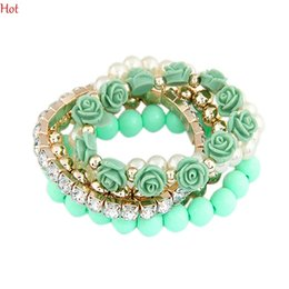 Wholesale Plastic Flower Rings - 2015 Trendy Fashion Bracelet Candy Color Pearl Rose Flower Stretch Bracelet Multilayer Charm Bracelet Bangle For Women Fashion Jewelry 18992