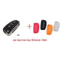 Wholesale Remote Key Audi A3 - NEW 3 BUTTON FOLDING FLIP REMOTE KEY SHELL CASE FOB FOR AUDI A2 A3 A4 A6 A6L A8 TT with car key Silicone
