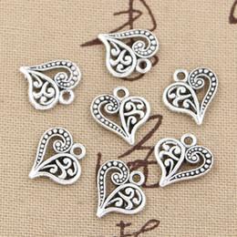 Wholesale Silver Hollow Heart Charm Bracelet - 200pcs Charms hollow heart 15*14mm Antique,Zinc alloy pendant fit,Vintage Tibetan Silver,DIY for bracelet necklace