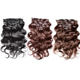 Extensión de la pinza de pelo superior online-# 1 # 2 # 4 Barato brasileño Body Wave Clip en extensiones de cabello Remy cabello humano teje 20-24 pulgadas de calidad superior Clip Human Hair Extensions 120g / set