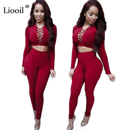 Wholesale Two Piece Night Club Wear - Elegant Two Piece Rompers Womens Jumpsuit Sexy V Neck Tie Up Long Sleeve Bodysuit Night Club Wear Bodycon Jumpsuits Overalls q171118
