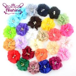 "Wholesale Wholesale Headbands Supplies - Nishine 2"" Layered Chiffon Fabric Flowers With Pearl Rhinestone DIY Hair Flower Headwear Supplies Hair Accessories"