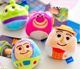 Wholesale Toy Story Strawberry Bear - Free shipping 24pcs lot 6cm Toy Story 3 Buzz Lightyear,Cowboy Woody,Lotso Strawberry bear, Aliens Stuffed Doll Plush Pendant