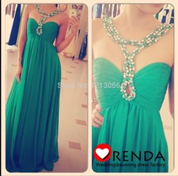 Wholesale Charming Red Coral Necklace - 2016 New arrival Halter Charming Custom made Green A line Vestidos A line Beading necklace Floor length Chiffon Evening prom party Gown