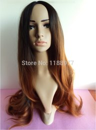 Wholesale Cheap Wigs Weaves - AAAA + quality two tone color ombre black root to brown hair hand woven scalp no lace front synthetic cheap celebrity ombre wig