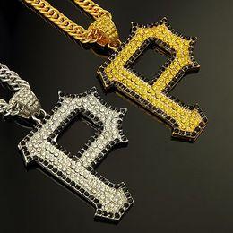 Wholesale P Pendants - Gold Silver Plated Plated Rhinestone Letter P Pendant Necklace For Hip Hop Rap Punk Men Long Chain Jewelry