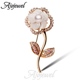 Wholesale Large Pearl Flower Brooch - FG New Fashion Crystl Pearl Large Flower Brooch High Quality Gift Items For Women