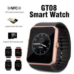 Wholesale Remote Control Speed - Bluetooth Smart Watch for GT08 Smartwatch with SIM Card Slot NRC Speed Smooth Speed for Android IOS Cellphones with Retail Package