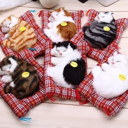 Wholesale Wholesale Cat Stuffed Animals - Lovely Simulation Animal Doll Plush Sleeping Cats Toy with Sound Kids Toy Birthday Gift Doll Decorations stuffed toys