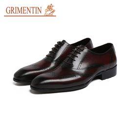 Wholesale Vintage Pointed Toe High Heels - GRIMENTIN Brand high top vintage Men Dress Shoes Genuine Leather Wingtip Lace-up Wedding business office male shoes men