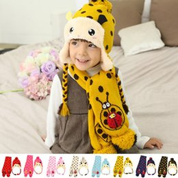 Wholesale Ladybug Gloves - Wholesale-2015 New Winter super cute little Ladybug plus bomber hat+scarf two sets(8 color)children's fashion sets cap,free shipping