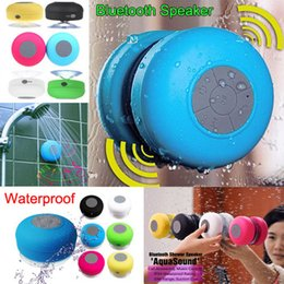 Wholesale Music Pads - 6 Colors Portable Waterproof speakers Wireless Bluetooth Speaker Shower Car Handsfree Receive Call & Music Suction Phone Mic Speaker Pad