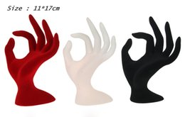 Wholesale jewelry display hand stands - High Quality OK Finger Resin and Velvet Jewelry Display Rack Hand Manekin Ring Bracelet Necklace Stand Ring Bracelet Holder