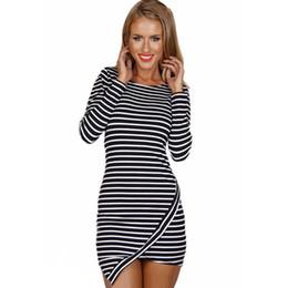 Wholesale Long Asymmetrical Stripe Dresses - Chic Horizontal Stripe Asymmetric Hem Long Sleeve Mini Dress