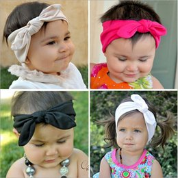 Wholesale Super Cute Korean - free ship Korean style baby girl boy cotton elasticity rabbit ears Headband kids girl super cute bowknot headwear hot sale