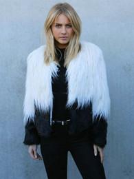 Wholesale Winter Elegant Coat Short - Black And White Short Casual Women Outwear 2015 Winter Elegant Thick Warm Casaco Feminino Plus Size Faux Fur Coat Jacket X956