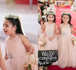 Wholesale Cute Pink Dresses For Kids - 2015 Cute Blush Pink Flower Girl Dresses for Weddings Long Tulle Crystals Sash Jewel Floor Length Girls Pageant Dress Kids Birthday Dresses
