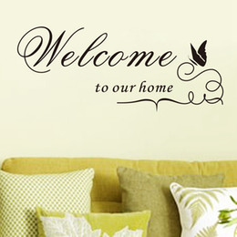 Wholesale Welcome Home Decorations - Retail 60*25Cm Welcome To Our Home Wall Lettering Stickers, Black Cute Butterfly Wall Decor Decals for Living Room Bedroom Decoration